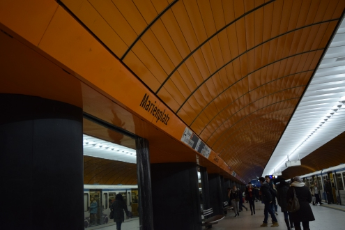 Marienplatz - the Ubahn station that services the city centre.  I like it because it is orange.  This is also the reason I like to do my shopping at Sainsbury's.