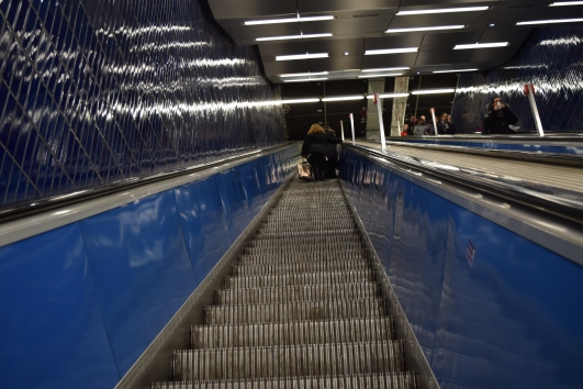 The escalators are very steep in some cases and this is one of the reasons why the sprint to reach the train before it moves on is usually an ill-judged decision.